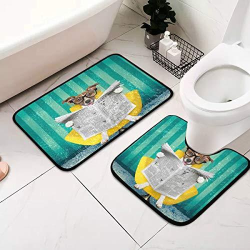 Jack Russell - Juego de 2 alfombrillas de baño antideslizantes para leer periódicos en silla o sofá, tumbona, sala de estar, incluye alfombrilla de baño para inodoros en forma de U