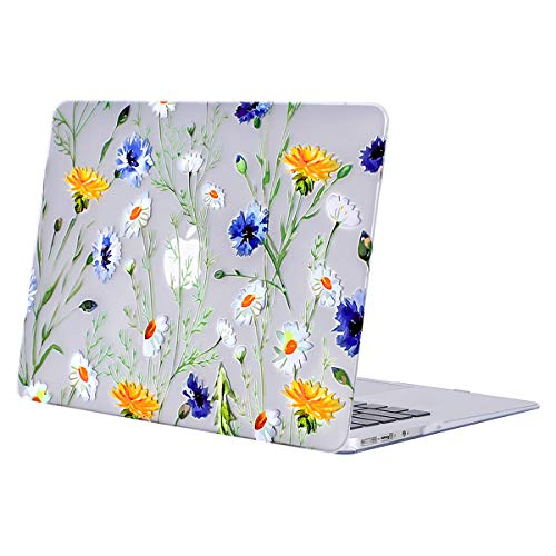 MOSISO Hard Case Compatible with MacBook Air 13 inch Model A1369 / A1466 (Release 2010-2017 Older Version), Ultra Slim Pattern Plastic Protective Snap On Shell Cover, Clear Base Daisy
