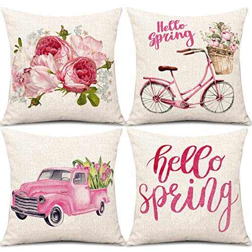 Whaline Spring Throw Pillow Covers Pink Hello Spring Pillow Case Truck Bicycle Flower Linen Cushion Case 18 x 18 Inch Set of 4 Farmhouse Floral Decorative Pillow Cover for Home Sofa Bed Couch