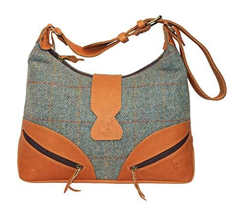 Barrhead Leather Wild Scottish Deerskin - Bolso de Mano (tamaño Grande), diseño de Cuadros Escoceses, Color marrón