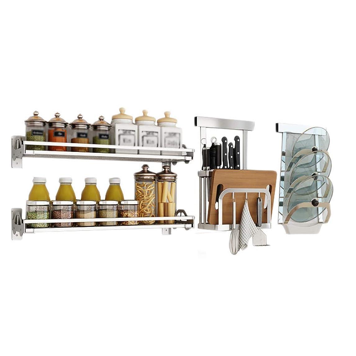 軽オーロックセメント食器収納棚家電 キッチンストレージ2スパイスボードポット壁掛け多機能ストレージ家庭用カッティングフックナイフをドレンキッチン304枚のステンレススチールラック