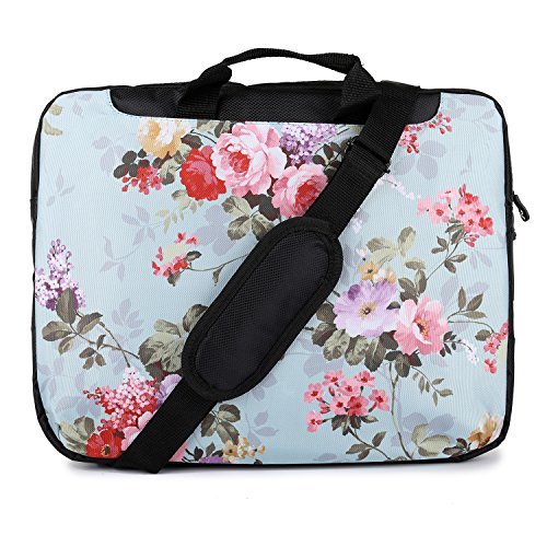 TaylorHe 15.6 inch 15 inch 16 inch Hard Wearing Nylon Laptop Carry Case Colourful Laptop Shoulder Bag with Patterns, Side Pockets Handles and Detachable Strap Vintage Floral Patterns for Her