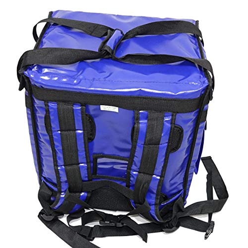 """PK-65Abl: Insulated Pizza Delivery Backpack Bag, Top Load + Side Load. 16"""" L x 12"""" W x 18"""" H, Thermal Food Delivery Box/Cabinet for Catering, Restaurant, Delivery Drivers, 65Liters (Blue)"""