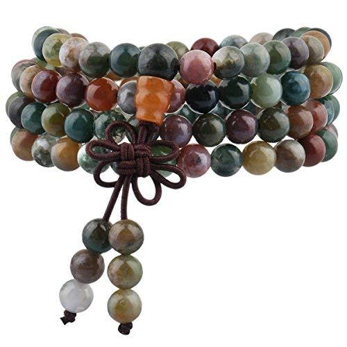 mookaitedecor Tibétain Mala Bracelet 108 Perles Pierres Élastique Collier Bouddhistes Chakra,Moss Agate