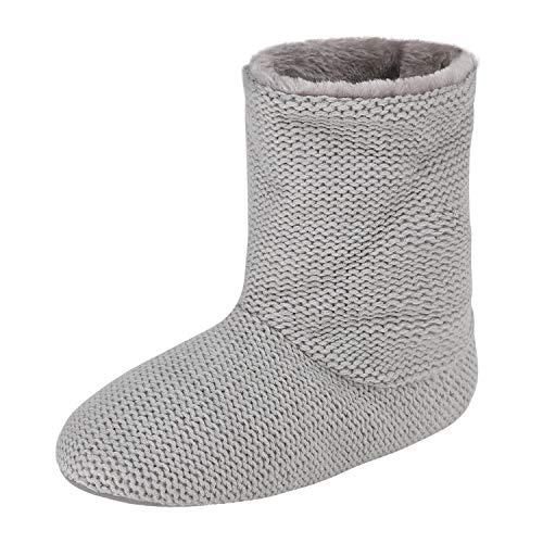 JINTN Warm Hausschuhe Hohe Hüttenschuhe Soft Stiefel Winterhausschuhe Indoor Outdoor Slipper Pantoffeln für Herbst und Winter, Grau, 38/39 EU
