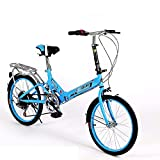 Bicicleta Plegable de 20 Pulgadas Bicicleta Plegable de 6 velocidades Bicicleta Plegable para Estudiantes Adultos para Mujeres Bicicleta de automóvil Marco de Aluminio liviano Absorción de Impactos-C