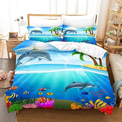 GVJKCZ Funda de edredón Pez delfín de Coral de mar Azul Blanco Funda nórdica Estampada 240x220cm Microfibra-1Funda de Edredon con 2 Fundas de Almohada,3Piezas,Muy Suave,No alérgico