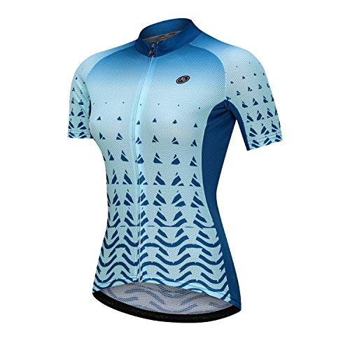 NUCKILY Women's Short Sleeve Cycling Jersey Jacket Biking Shirt Quick Dry Breathable Mountain Clothing Bike Top - blue - X-Small