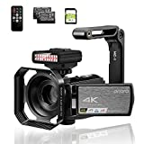 Video Camera 4k ORDRO AE8 Infrared Camera Camcorder with Night Vision, External IR Night Light Remote Control and 2 Batteries