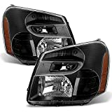 ACANII - For 2005-2009 Chevy Equinox SUV Black Headlights Headlamps Head Light Lamps Replacement Driver + Passenger Side