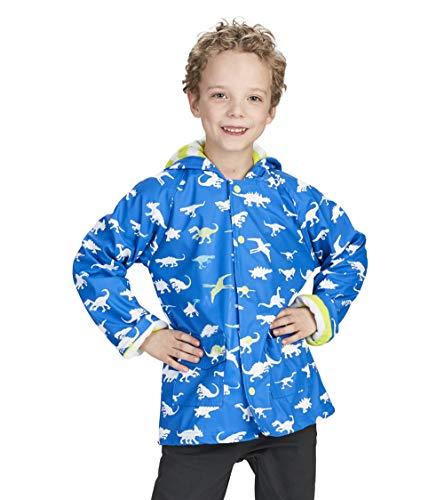 Hatley Jungen Regular Fit Regenjacke Printed Raincoat, Blau (Dinosaur Menagerie), 8 Jahre
