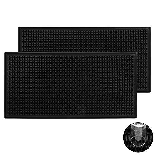 SUI-lim 2 Stück Abtropfmatte Maxi, Hochleistungs Silikon Trocknungs Pad, Trocken-Matte, für Bar Club Küche Café, 30 x 15 cm, Schwarz
