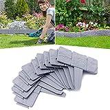 Aufun Borde de césped con piedras para gardenedging de plástico, 7,5 m, borde de jardín, cercado para arriates, 25 cm x 23 cm (30 unidades), color gris