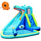 AchieveUSA Hippo Inflatable Water Slide Bounce House with Air Blower
