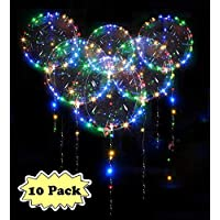 10 PCS LED Bobo Globos Transparente - Zodight 18 Pulgadas Globos Luminoso con Luces de Cuerda Muticolores Decoración para Cumpleaños Fiesta Boda Navidad