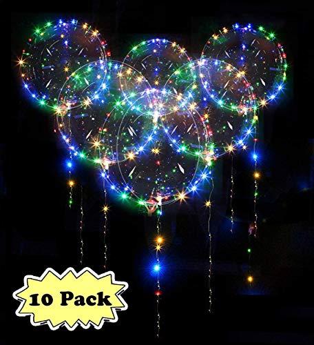 Zodight 10 PCS LED Bobo Globos Transparente 18 Pulgadas Globos Luminoso con Luces de Cuerda Muticolores Decoración para Cumpleaños Fiesta Boda Navidad