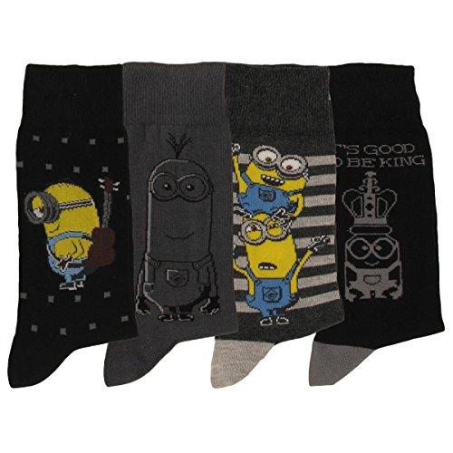 Les Miniions Herren Socken, 4 Stück Gr. One size, Schwarz