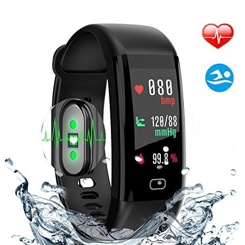HDTOSNER Smartwatch Andriod, IP68 Impermeabile Fitness Tracker, Bracciale Fitness Con Pressione Sanguigna/Ossigeno e Cardiofrequenzimetro Per iOS/Andriod Activity Tracker (Nero)