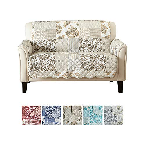 Great Bay Home Patchwork Scalloped Printed Furniture Protector. Stain Resistant Loveseat Cover. (Loveseat, Taupe)