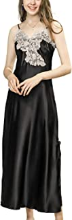 asher BABY Women's Nightdress Lace Satin Nightgowns Long Chemise Sleepwear Sexy Robes