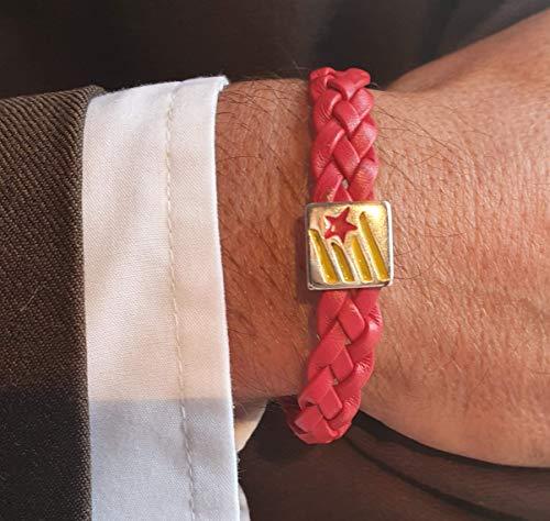 Polso- Pulsera de cuero Hombre Mujer de curtido vegetal trenzado color rojo con la estelada catalana pintada a mano Ajustable