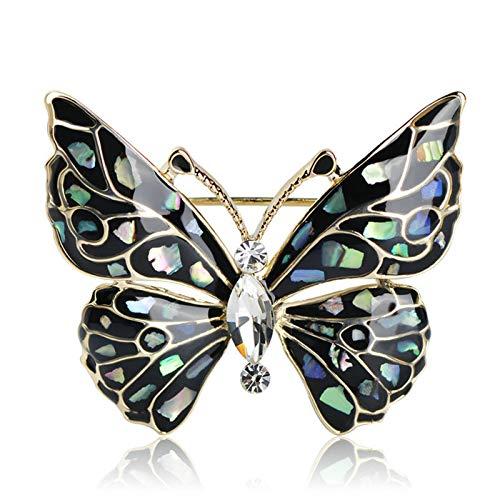 CLEARNICE Broche de Mariposa Azul a la Moda, Accesorios para Ropa, broches de Insectos con Concha de Color Dorado, alfileres de joyería para Traje, Vestido