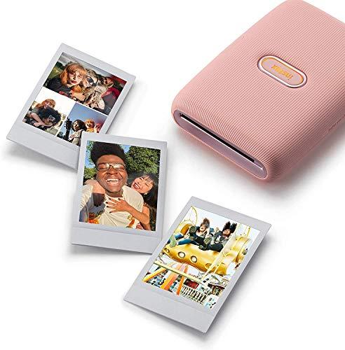 instax Link Smartphone Printer, Dusky Pink & Mini Instant Film, 5X 10 Blatt (50 Blatt), Weiß