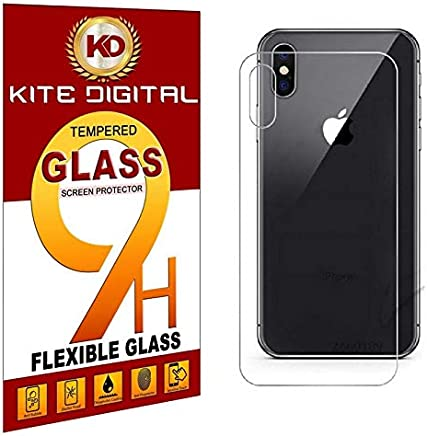 Kite Digital iPhone X Back Premium Tempered Glass Screen Protector Slim 9H Hardness 2.5D