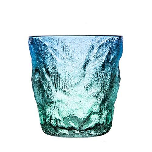 Vaso de cristal para whisky, hecho a mano, con rayas verticales, bonitos efectos de iluminación, copas de whisky, copas de vino, para beber bourbon/cóctel/bar (color: tipo 1)