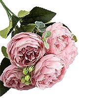 Ruikey 造花 蔷薇 花瓶を含まない かわいい造花 家の装飾や結婚式の装飾用 記念品 5本セット