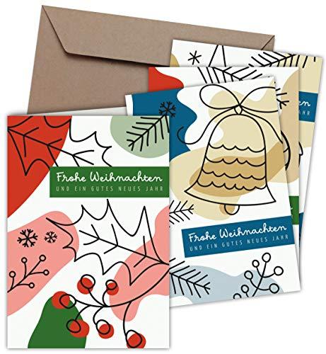 Klappkarten & Umschläge (20er Set): Weihnachtskarten Farbenfrohe Weihnacht, Format 115 x 165 mm, Premium-Qualität, mit Blanko-Innenseiten für Weihnachtsgrüße an Familie, Freunde, Kunden (MATT)