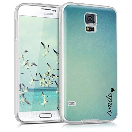 kwmobile Hülle kompatibel mit Samsung Galaxy S5 / S5 Neo - Handyhülle - Handy Case Smile Herz Blau Türkis