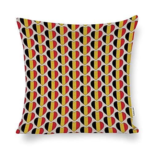 "Promini I Love Belgium Belgian Flag Hearts Cotton Linen Blend Throw Pillow Covers Case Cushion Pillowcase with Hidden Zipper Closure for Sofa Bench Bed Home Decor 20""x20"""
