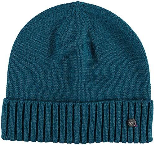 Fraas, Berretto invernale da uomo, lavorato a maglia, con bordo, di alta qualità, in tinta unita, 30% lana Petrolio scuro Taglia unica