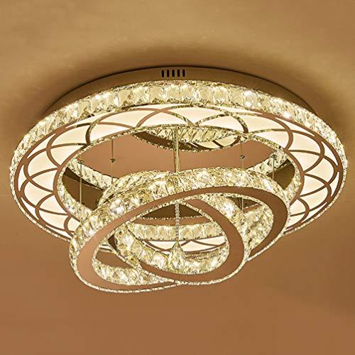 Modern LED 3 Ring Kristall Deckenlampe, Esszimmer Wohnzimmer Decke Dimmbar Kronleuchter Einstellbare Edelstahl Deckenleuchte, Groß Wohnzimmerlampe Esszimmerlampe, Ø60cm 108 Watt