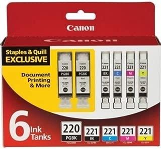 Canon PGI-220 2-Pack (Black) + 4 Ink 221 Value Pack - (Black/Cyan/Magenta/Yellow) in (6 Ink Tanks in Total)