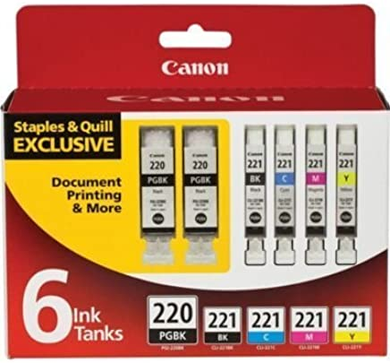 Canon PGI-220 2-Pack (Black) + 4 Ink 221 Value Pack -...