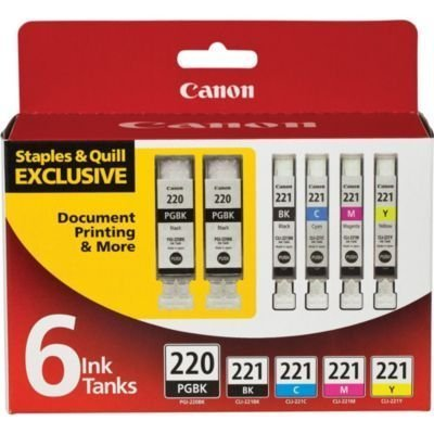 Canon PGI-220 2-Pack (Black) + 4 Ink 221 Value Pack - (Black/Cyan/Magenta/Yellow) in (6 Ink Tanks in Total)