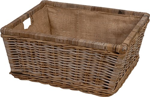 korb.outlet Basket Wicker Storage Basket Made of Unpeeled Rattan in Grey (Large 60 x 48)
