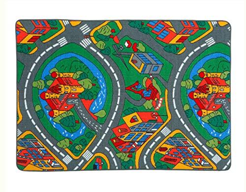 LucaHome – Alfombra Infantil Carretera, Juegos, Ciudad, alcolchada | Alfombra Infantil Plegable | Alfombra Juegos Circuito Coches con Base Antideslizante | Alfombra Carretera Coches 100 x 140cm