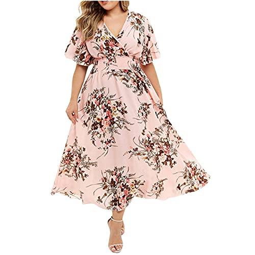 Plus Size Dress for Women, OutTop Spaghetti Strap Sleeveless Boho Flower Print Loose Asymmetrical Long Maxi Dress (D-Pink, XL)