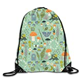 Lawenp Plegable Fairy Garden Drawstring Bag, Sports Cinch Sacks String Drawstring Backpack for Picnic Gym Sport Beach Yoga