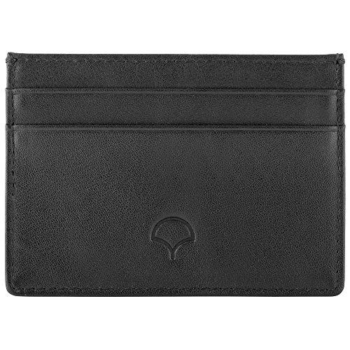 Kreditkartenetui aus Echtleder, Schwarz - RFID-Abschirmung, 5 Taschen, schlankes Design