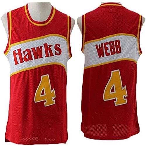 QQA Hombres Sin Mangas Jerseys de Baloncesto Swingman Atlanta Hawks 4# Spud Webb NBA Classic Jersey Manual Bordado Tela Transpirable Fresca Top Deportivo de Chaleco de Gimnasia,L