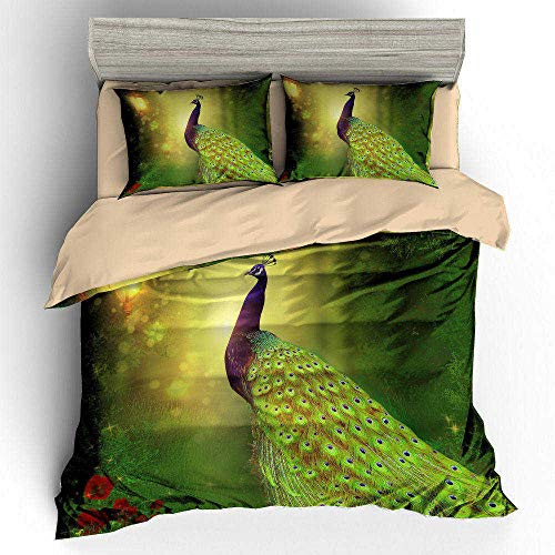MOUPSDT 3D Printed Duvet Cover Green peacock under the lamp Super King size Bedding Set Super Soft Microfiber 3 pcs 1 Duvet Cover 86.7 inch x 103 inch with 2 Pillow covers 50x75cm