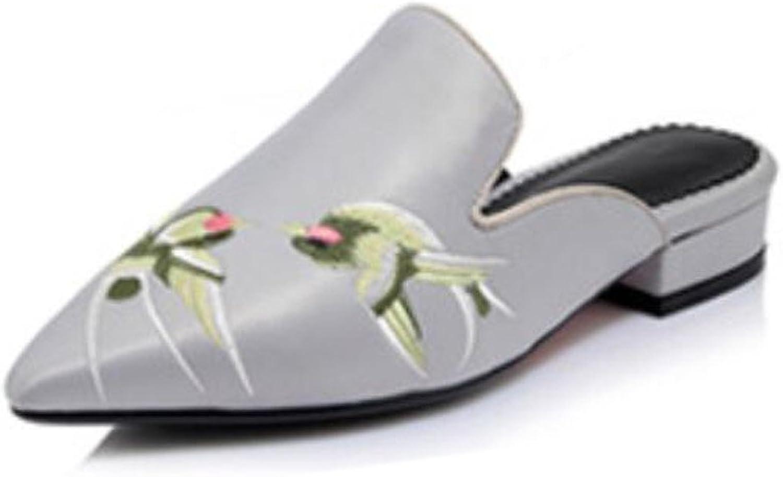GDXH Sommer-Frauen Sandalen und Retro-Seide Stickerei wies Flache Schuhe Flache Schuhe Mode Hausschuhe (rot schwarz grau 32-44) Mode Hausschuhe