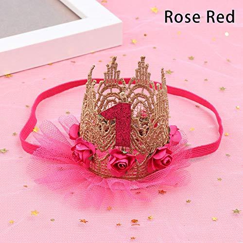 la mode les enfants partie de la décoration garçons filles la bande de cheveux fleur coiffure 1 ans petit chapeau de fête(Rose red)