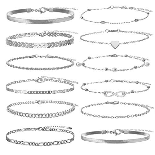Sincahfy Ankle Bracelets for Women Gold Chain Anklet Adjustable Arrow Infinity Heart Anklet Snake Chain Summer Barefoot Sandals Beach Foot Jewelry Leg Chain 12 PCS (12-Sliver)