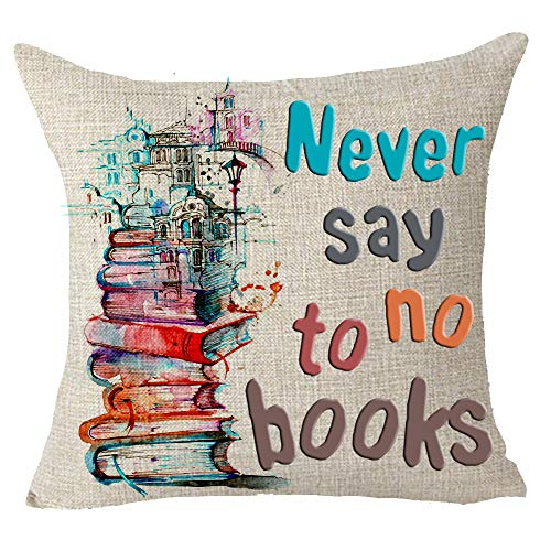 "Never Say No to Books Watercolor Painting Book Pile City Abstract Modern Best Gift Square Pillowcase Pillow Cover Library Reading Room School Cotton Linen 18""X 18"" Family"