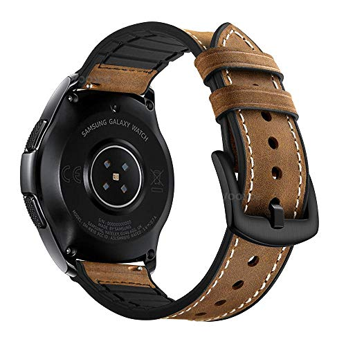 YOOSIDE für Galaxy Watch 42mm/Galaxy Watch Active 2 Leder Armband, 20mm Echtleder+Silikon Ersatzarmband Uhrenarmband für Samsung Galaxy Watch Active 2 40mm 44mm,Galaxy Watch 3 41mm,Braun